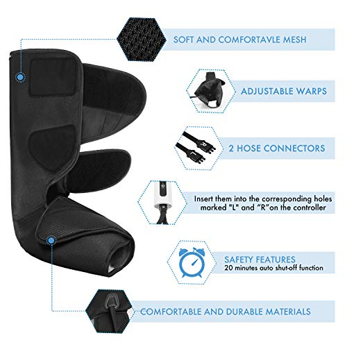 CINCOM Leg Massager for Foot Calf Air Compression Leg Wraps with Portable Handheld Controller – 2 Modes 3 Intensities Black