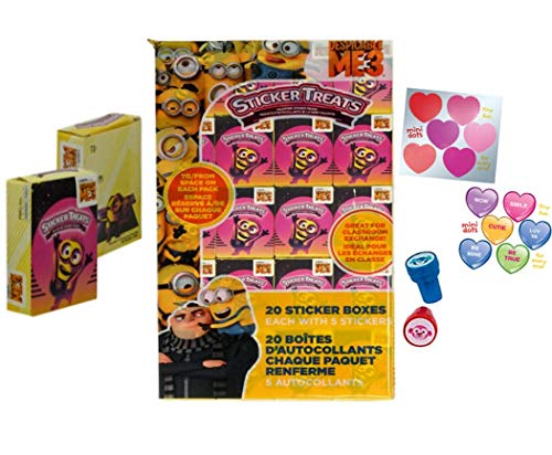 Despicable Me 3 Valentine's Day Stickers Treat Boxes (20 Pack) Bob, Kevin and Stuart with Bonus Heart Stickers and Stamps for -