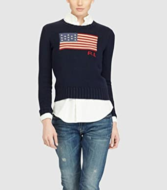 5beee11f953 Ralph Lauren Pull Maille col Rond Drapeau Bleu Marine pour Femme ...