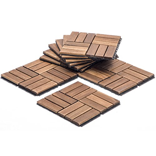 mposite Decking Wood-plastic Composite Decking Boards  Interlocking Flooring Tiles,Set of 10 (Brown) (Interlocking Wood Deck Tile)