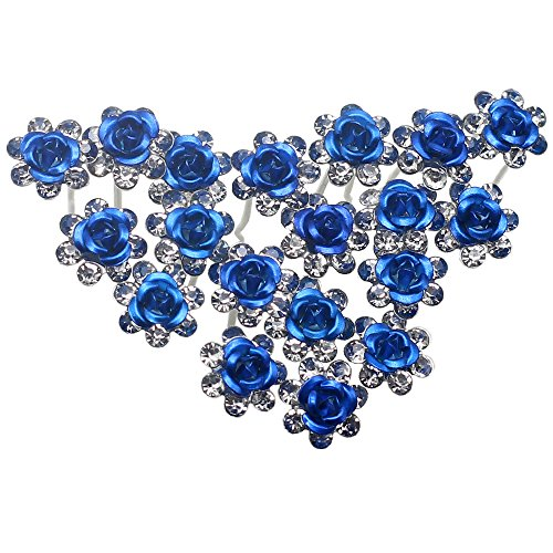 Newstarfactory Rose U-sharped Design Collection Metal Hair Pins Pack of 20 with Exclusive Gift (Blue) - Exclusive Collection