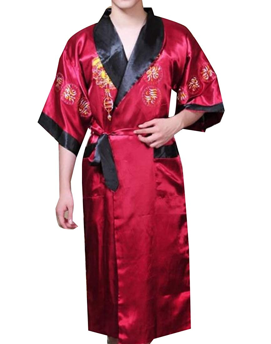 AngelSpace Men Charmeuse Silky Embroidered Satin Long Open Luxurious Wrap Robe