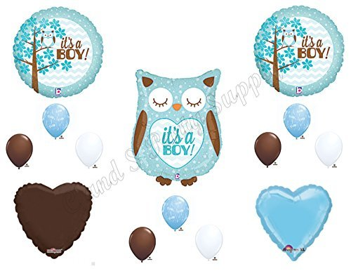 Baby Boy Owl Shower Balloons Decorations Supplies -