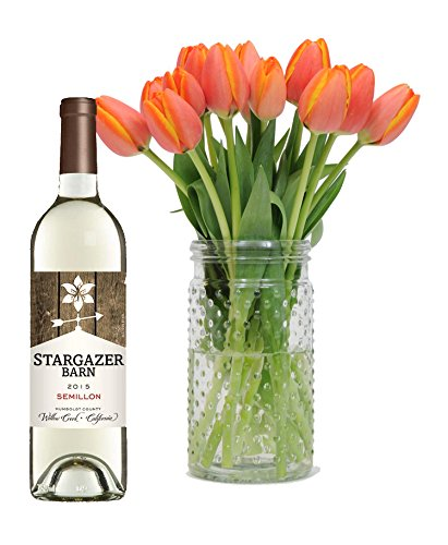 Stargazer Barn- Orange You Glad Gift Set-1 Bottle x 750mL- Orange Tulips with Vase