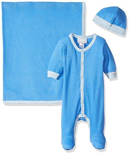 Coccoli Baby Boys' Azure Waffle Knit Cotton Footie + Cap + Blanket Gift Set, Azure Blue, Newborn