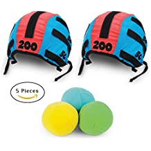 Toss Head Games for Adults and Kids – Best Family Games and Ball Toss Game Set with 5 Pieces, 2 Headbands Caps Hats and 3 Foam Balls Indoor Outdoor Tossing Games Ideal Gift Ideas