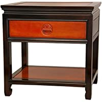 Oriental Furniture Rosewood Bedside Table - Two-tone