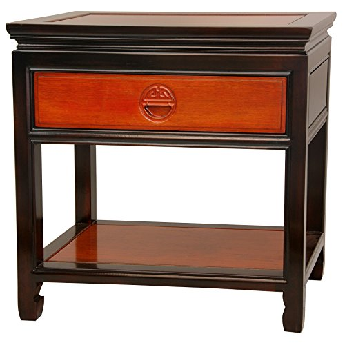 Oriental Furniture Rosewood Bedside Table – Two-tone