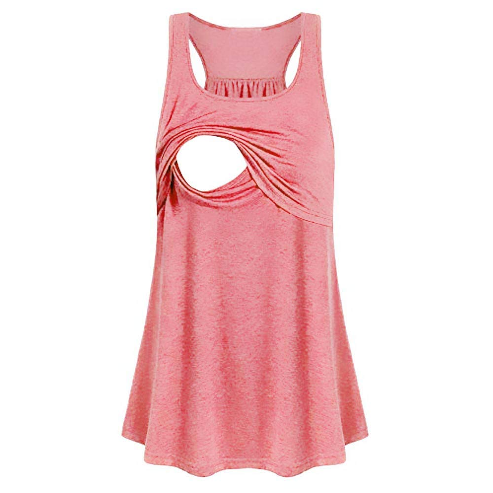 Women Maternity Blouse Comfy Pull-up Vest Nursing Tank Tops Soft Pregnancy Clothing Loose Breastfeeding Shirts