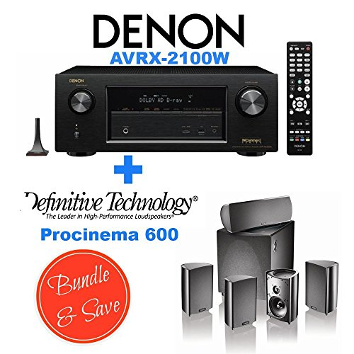 Denon AVR-X2100W 7.2 Channel Full 4K Ultra HD A/V Receiver with Bluetooth and Wi-Fi + Definitive Technology ProCinema 600 5.1 Speaker System Bundle