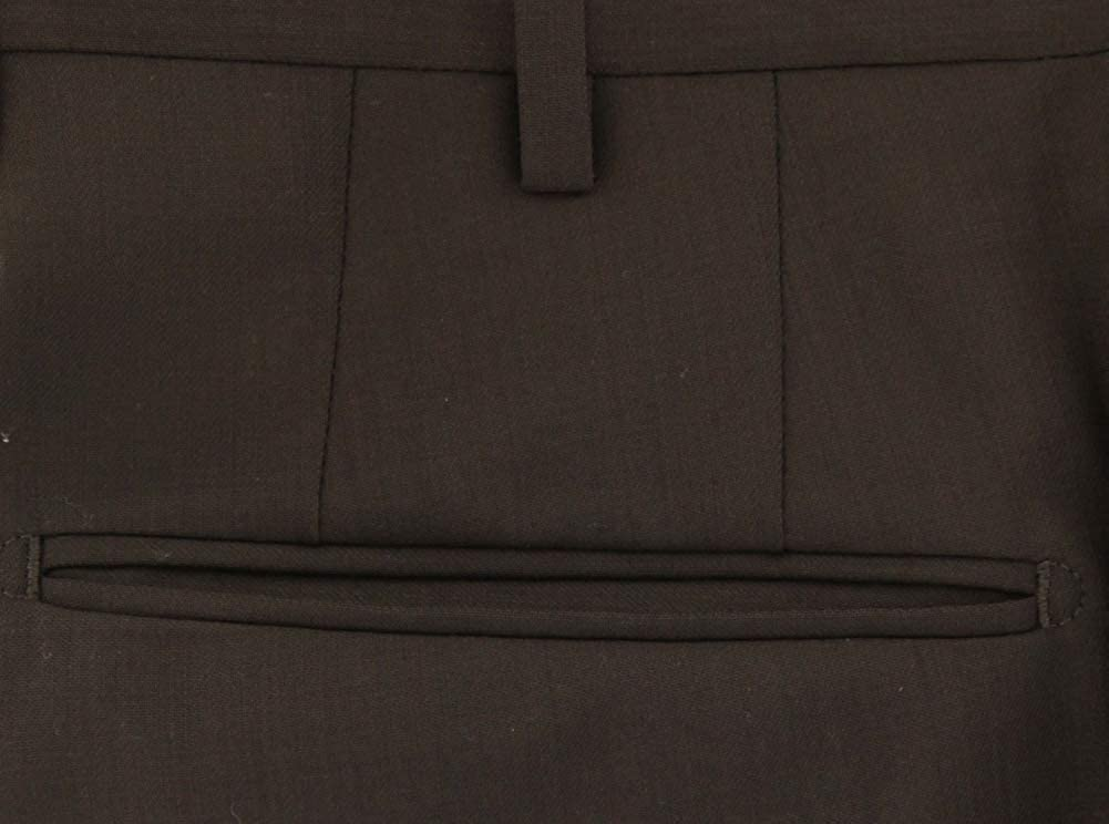 Incotex Dark Brown Solid Wool Pants - Slim at  Men's Clothing store