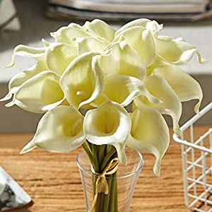 Fanber Artificial Calla Lily Real Touch Latex Fake Flowers for Wedding Home Party Office Decor(20,Yellow) 4
