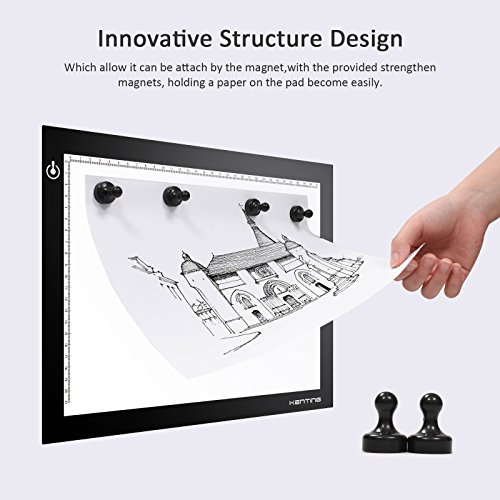 Magnetic K4M LED Light Pad Ultra Thin Brightness Adjustable Light Drawing Tracing Stencil Tattoo USB Powered Copy Board Pad for Animation, Sketching, Designing, Stenciling X-ray Viewing, Diamond Paint
