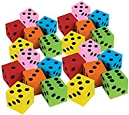 Kicko Foam Dice Set - 24 Pack of Assorted Colorful Big Square Blocks - Perfect for Building, Educational Toys,