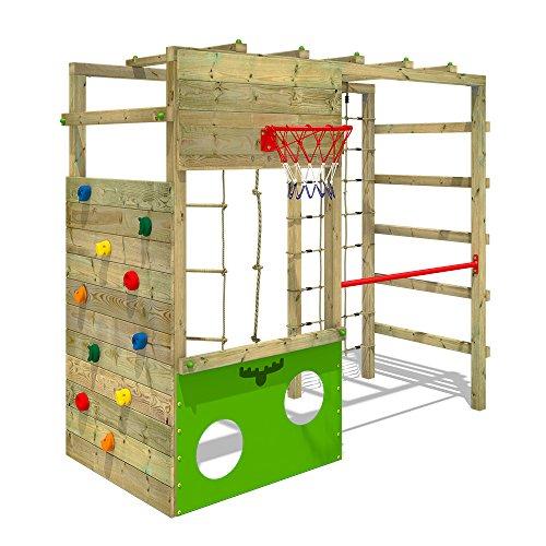 51RCMzMVgzL. SS500 XXL Parque infantil en diseño colorido incluido set de accesorios con instrucciones de montaje sencillas y detalladas Madera maciza impregnada en clave, de fácil mantenimiento - Postes verticales de 7x7cm - Made in Germany Calidad-y- seguridad verificadas - 10 años de garantía* para todos los elementos de madera - Con red para trepar