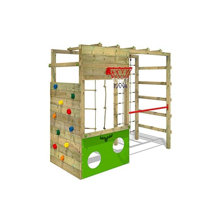 51RCMzMVgzL XXL Parque infantil en diseño colorido incluido set de accesorios con instrucciones de montaje sencillas y detalladas Madera maciza impregnada en clave, de fácil mantenimiento - Postes verticales de 7x7cm - Made in Germany Calidad-y- seguridad verificadas - 10 años de garantía* para todos los elementos de madera - Con red para trepar