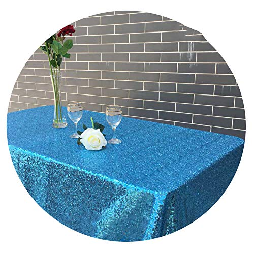 120x200cm/120x400cm Glitter Sequin Rectangular Tablecloth - Rose Gold Sequin Table Cloth,Turquoise,60x102in-150x255cm -