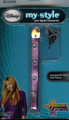 HANNAH MONTANA CELL PHONE CAMERA BACKPACK PURSE WRISTLET DANGLER - Pink Strap w/Rhinestones & HM Charm