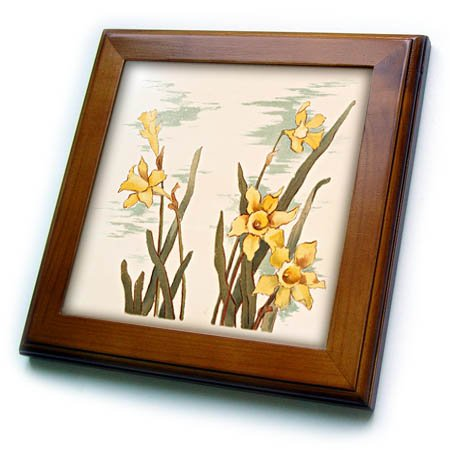 3dRose Vintage Style Floral - Image of Vintage Style Watercolor of Daffodils - 8x8 Framed Tile ()