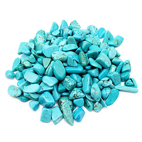 JARTC 1 OZ Turquoise Small Tumbled Chips Crushed Stone Healing Reiki Crystal Jewelry Making Home Decoration Aquarium Décor Gravel