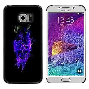 Planetar® ( Blue Flaming Skull ) Samsung Galaxy S6 EDGE / SM-G925 / SM-G920A / SM-G925T / SM-G925F / SM-G925I Fundas Cover Cubre Hard Case Cover
