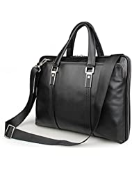 Forbidden! LXFF Mens Calfskin Leather Business Briefcase Bag 15 Inch Laptop Tote Bag Black