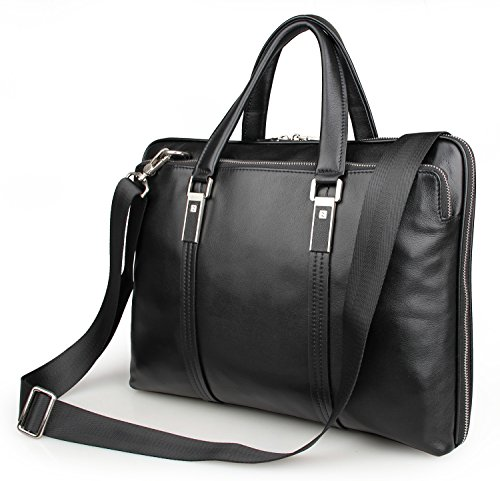 (LXFF Mens Calfskin Leather Business Briefcase Bag 15 Inch Laptop Tote Bag Black)