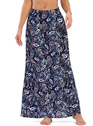 Yinggeli Women's Bohemian Print Long Maxi Skirt (O-Flower, XX-Large)