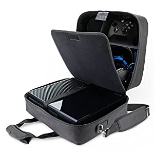 USA GEAR Console Carrying Case Compatible with Xbox One and Xbox 360 with Accessory Storage for Controllers, Cables, Headsets and Padded Shoulder Strap – Fits All Xbox Models – Black