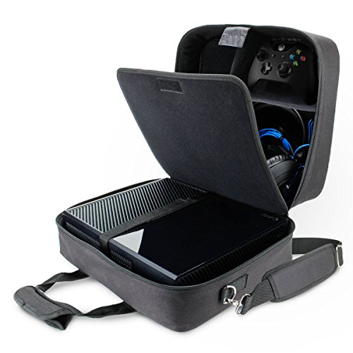 USA Gear Xbox One X Travel Case Carrying Bag for Console , Controllers , Games , Headsets & More with Adjustable Carrying Shoulder Strap , Accessory Storage Pockets , & Customizable Interior - Black