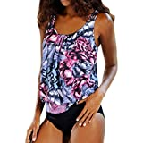 Ladies Plus Size Tankini Adjustable With Shorts Bikini Swimwear Tummy Control Hide Swimsuit Bathing Suits (Purple, US 12-14)