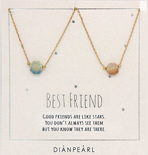 Best friend necklace, BFF Necklace, friendship necklace for 2, Gold dainty necklace, gemstone necklace
