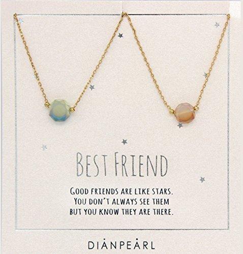 Best friend necklace, BFF Necklace, friendship necklace for 2, Gold dainty necklace, gemstone necklace