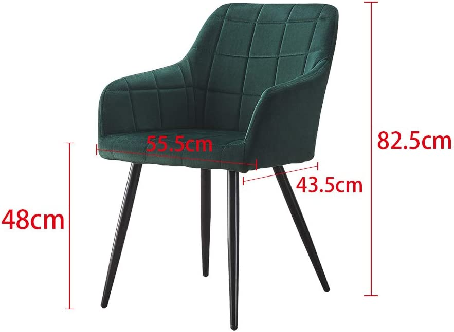 TUKAILAI 2PCS Occasional Upholstered Faux Leather Dining Chairs Accent Chair Lounge Office Commercial Restaurants Living Room Armchairs Light Grey PU Chair Green Velvet Chair