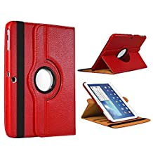 Samsung Galaxy Tab 4 10.1 CASE, Kingsource PU Leather Case for Samsung Galaxy Tab 4 10.1 (SM-T530NU) PU Leather 360 Rotating Stand Cover Wake & Sleep Function Red