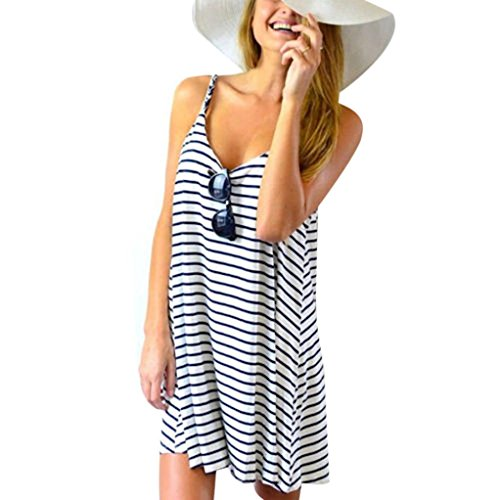 Lowpricenice 2016 Fashion Women Sleeveless Striped Loose Mini Dress Beach Party Casual Sundress (M)
