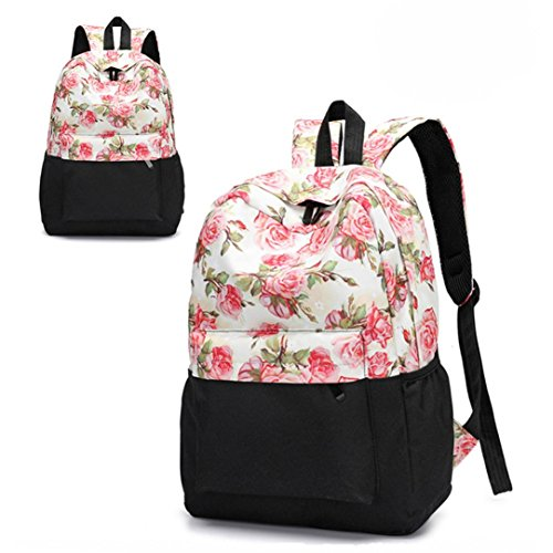 Floral Print Backpack - Transer Women Teenage Girls Floral Print School Bags Bookbags Travel Backpack (A-C)