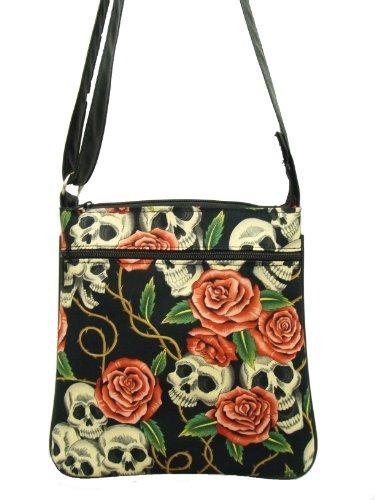Skulls-PINK-Roses-Rockabilly-Gothic-Halloween-Pattern-Cross-Over-body-Shoulder-bag-Style-Handbag-Purse-cotton-fabric-CSOP-1006