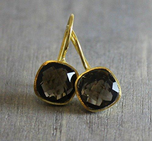 Cut Amethyst Drop Earrings (Cushion Cut Smoky Quartz Gold Plated Earwires Earrings)