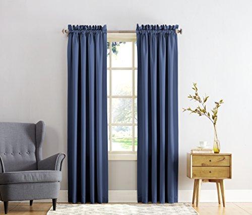 Sun Zero Barrow Energy Efficient Rod Pocket Curtain Panel, 54″ x 84″, Navy Blue