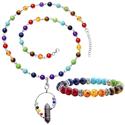 Top Plaza 7 Chakra Gemstones Tree of Life Healing Crystal Energy Yoga Balance Meditation Semi Precious Beads Necklace Bracelet Set(Amethyst Point)