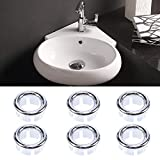 6PCS Vanity Basin Overflow Covers, WCIC Bathroom Sink Basin Remplacement Hollow Ring Round Cover Trim Bottom Diameter 24mm Upper Diameter 29mm