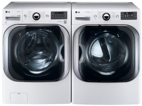 LG White 5.1 Cu Ft Front Load Steam Washer and 9.0 Cu Ft Steam Electric Dryer set WM8000HWA DLEX8000W (Washers Dryer Set)
