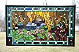 35'' X 21'' Stained Glass Window Panel Waterlily Flower Pond