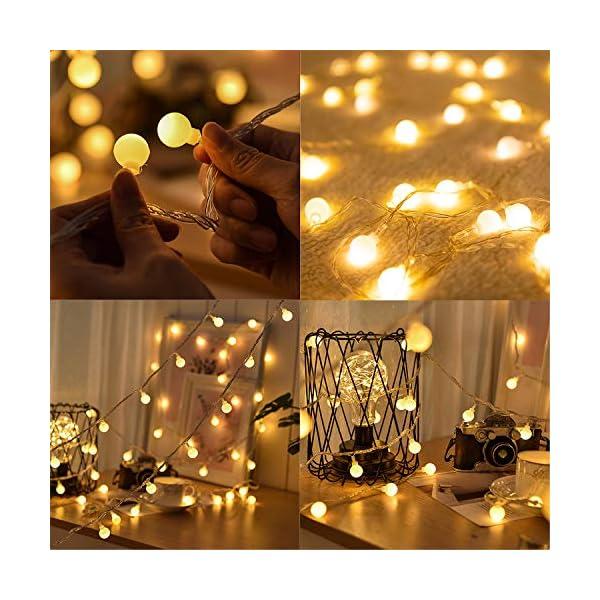 BANCELI-Catena Luminosa Solare - 100LED 10M Luci Decorative Stringa Solari Impermeabile Illuminazione per Natale Luce Solare a Sfera di Cristallo per Giardino, Patio, Alberi (Bianco Caldo) 7 spesavip