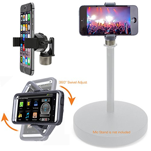"Price comparison product image ChargerCity 360° swivel Smartphone Holder with 5/8"" Tripod Microphone Stand Adapter for Apple iPhone X 8 7 6 6s SE Plus Samsung Galaxy S7 S8 Edge Note LG V30 (Mic Stand is not included)"