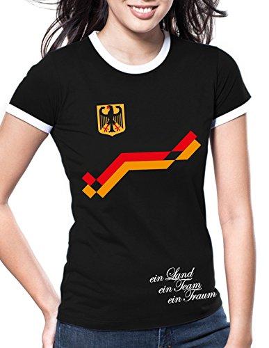 Luckja EM 2016 Trikot Deutschland Fanshirt Retro-Look Motiv 8 Damen Rundhals T-Shirt