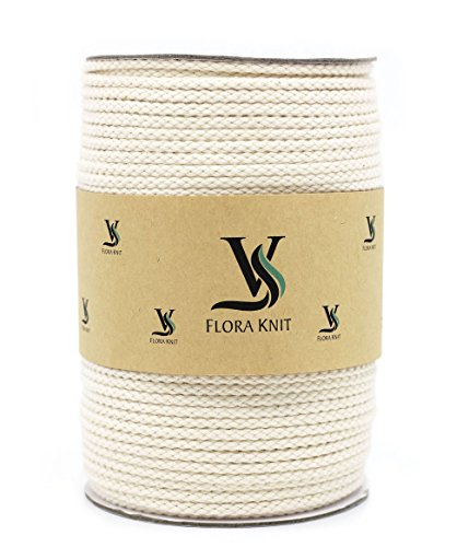 Natural Cotton Macrame Cord Rope - 4mm 1/6inch 110 Yards for Plant Hanger Craft Wall Hanging Handmade DIY (Not Recycle Material) (4mm-110Yards) -