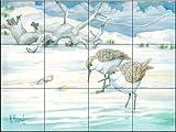Ceramic Tile Mural - Driftwood Sandpipers - by Paul Brent - Kitchen backsplash / Bathroom shower