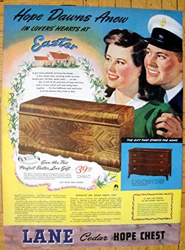 1944 Lane Cedar Hope Chest-Perfect Easter $39.50-Original 13.5 * 10.5 Magazine Ad